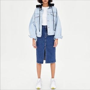 Zara trafaluc distressed denim frayed midi skirt